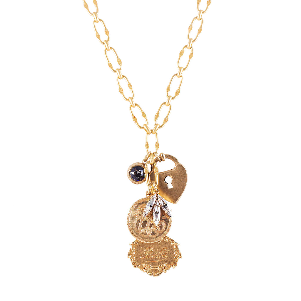 14k gold fancy chain necklace with French charms
