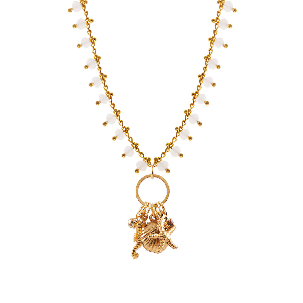 14k gold plated beaded chain Sea charm necklace