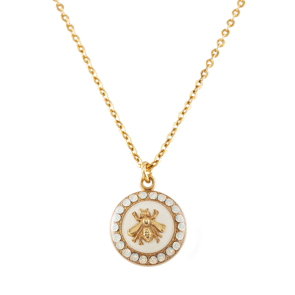 14k gold plated necklace with White Enamel Bee pendant