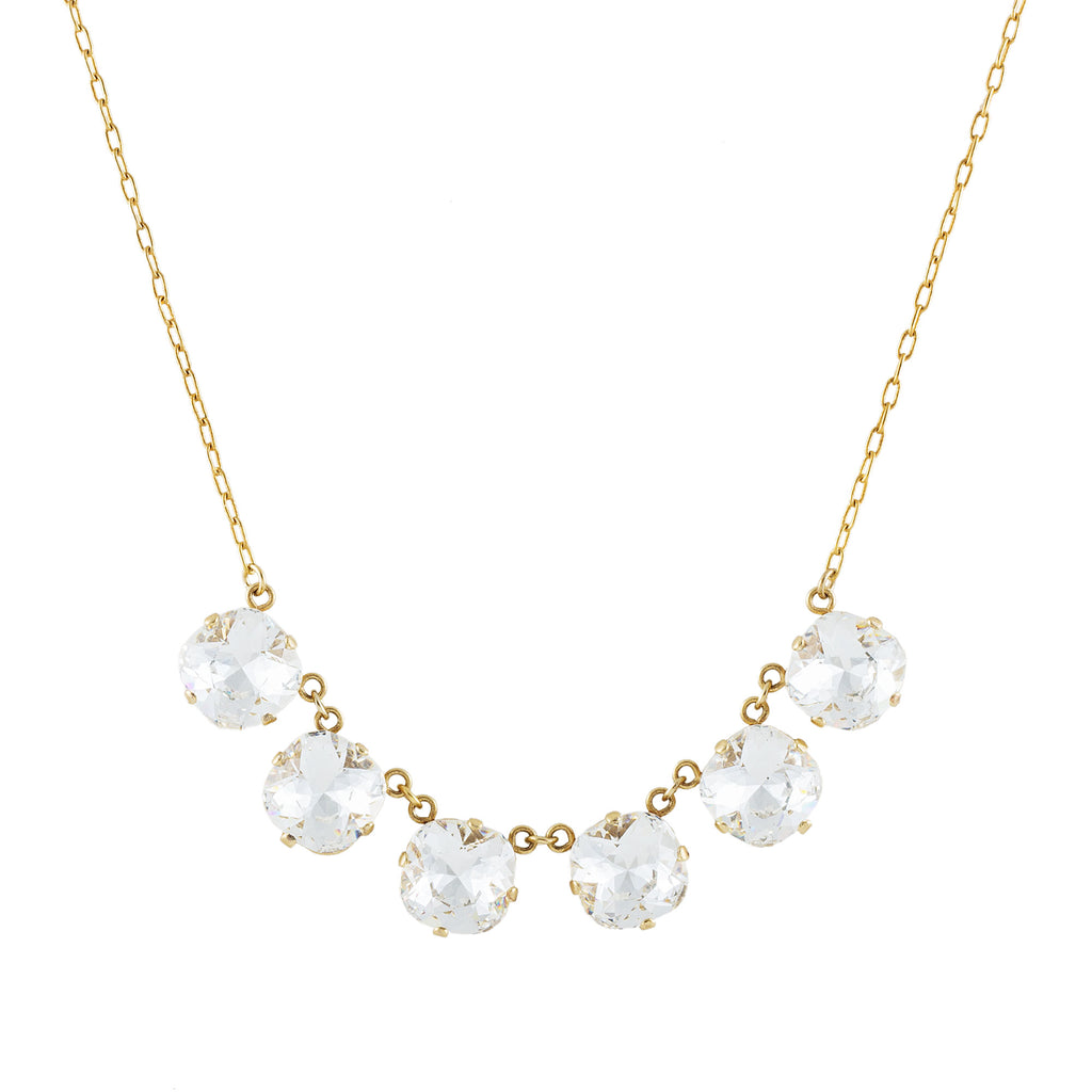 14k gold plated necklace with 6 large Swarovski crystals