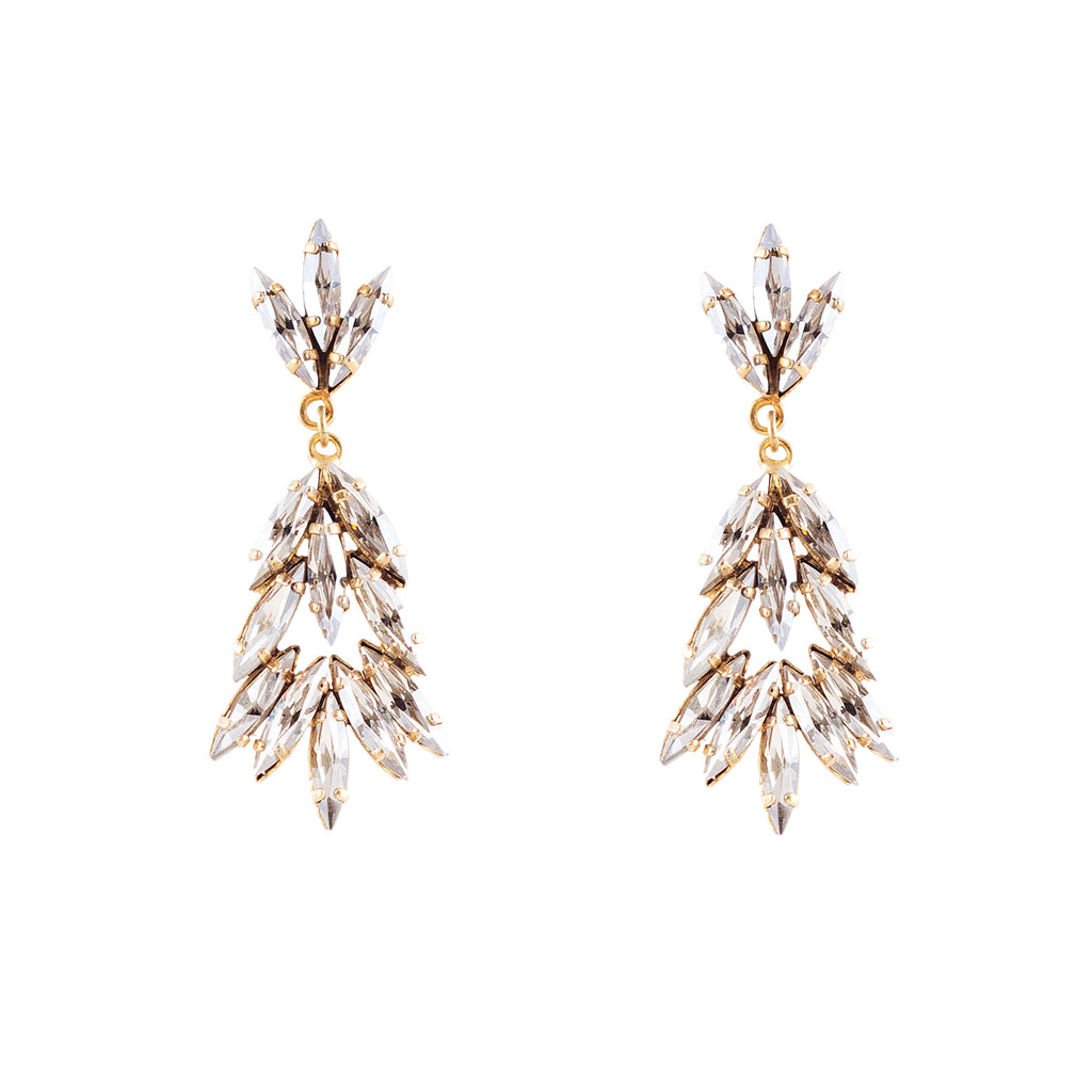 14k gold plated Marquise cluster earrings