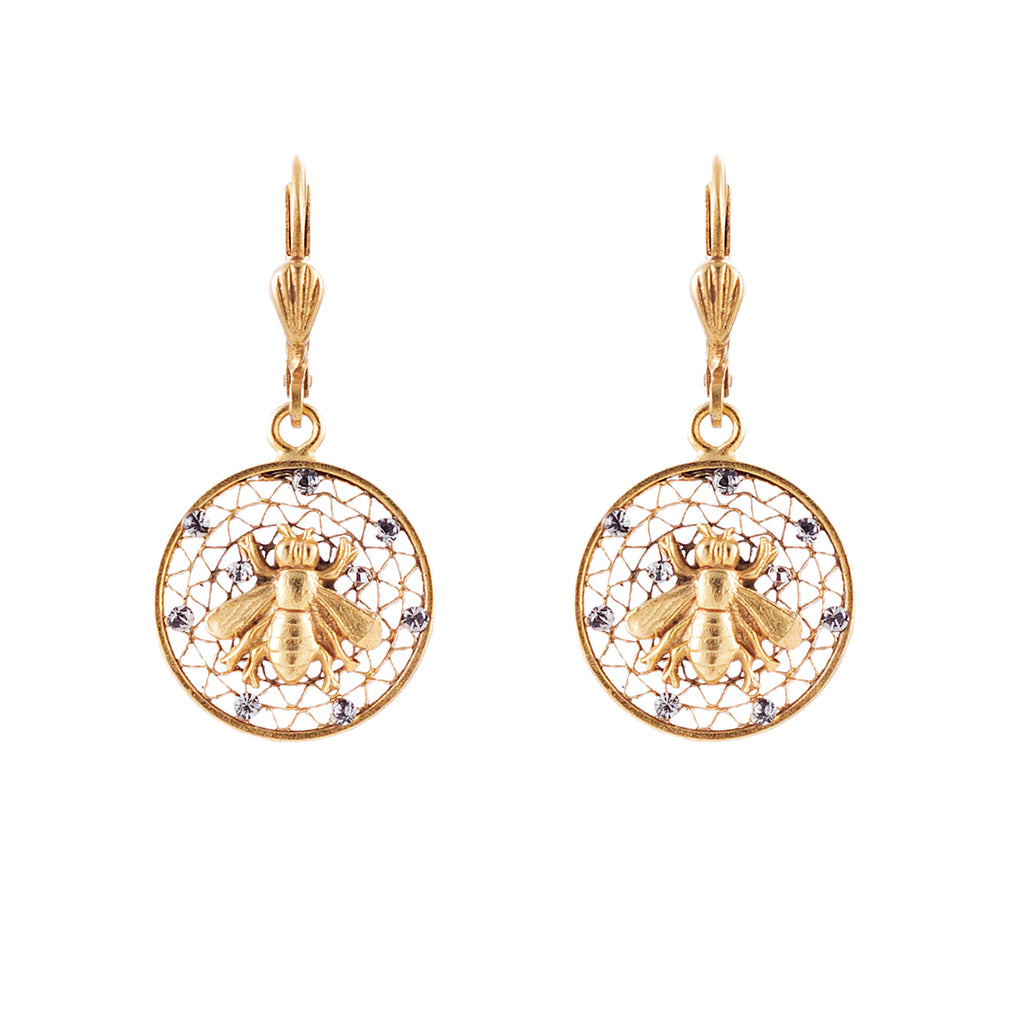 14k gold plated filigree medallion Bee earrings