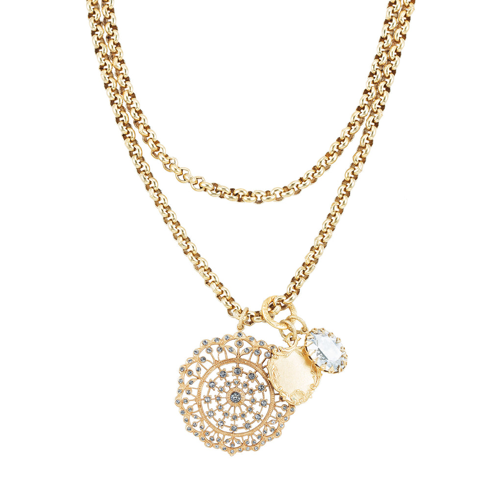 14k gold plated fancy chain medallion and charm necklace