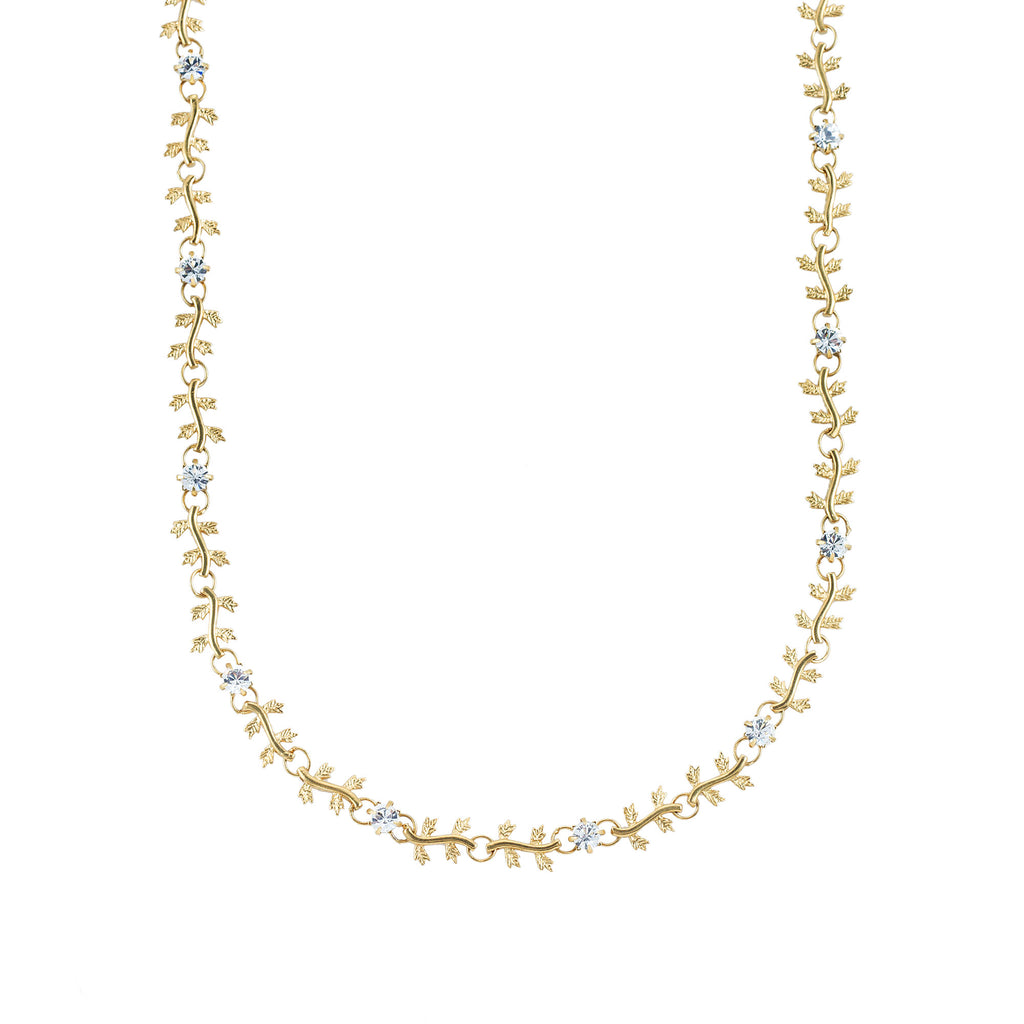 14k gold plated leaf necklace set with Swarovski crystals