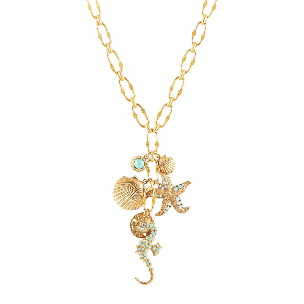 14k gold fancy chain necklace with charms
