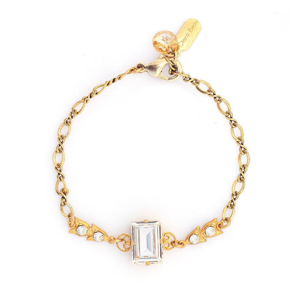 14k gold plated bracelet with large Swarovski crystal in Crystal