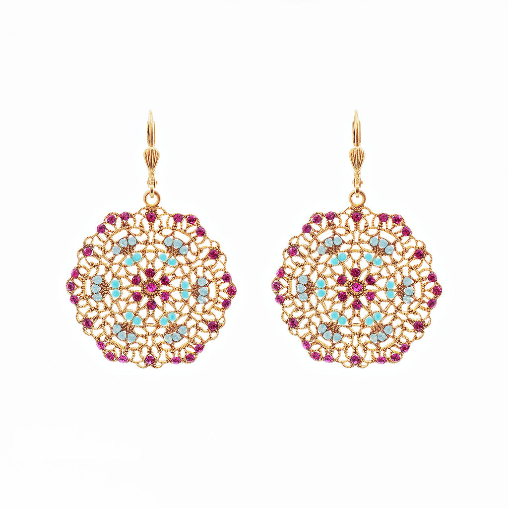 14k gold plated filigree medallion earrings