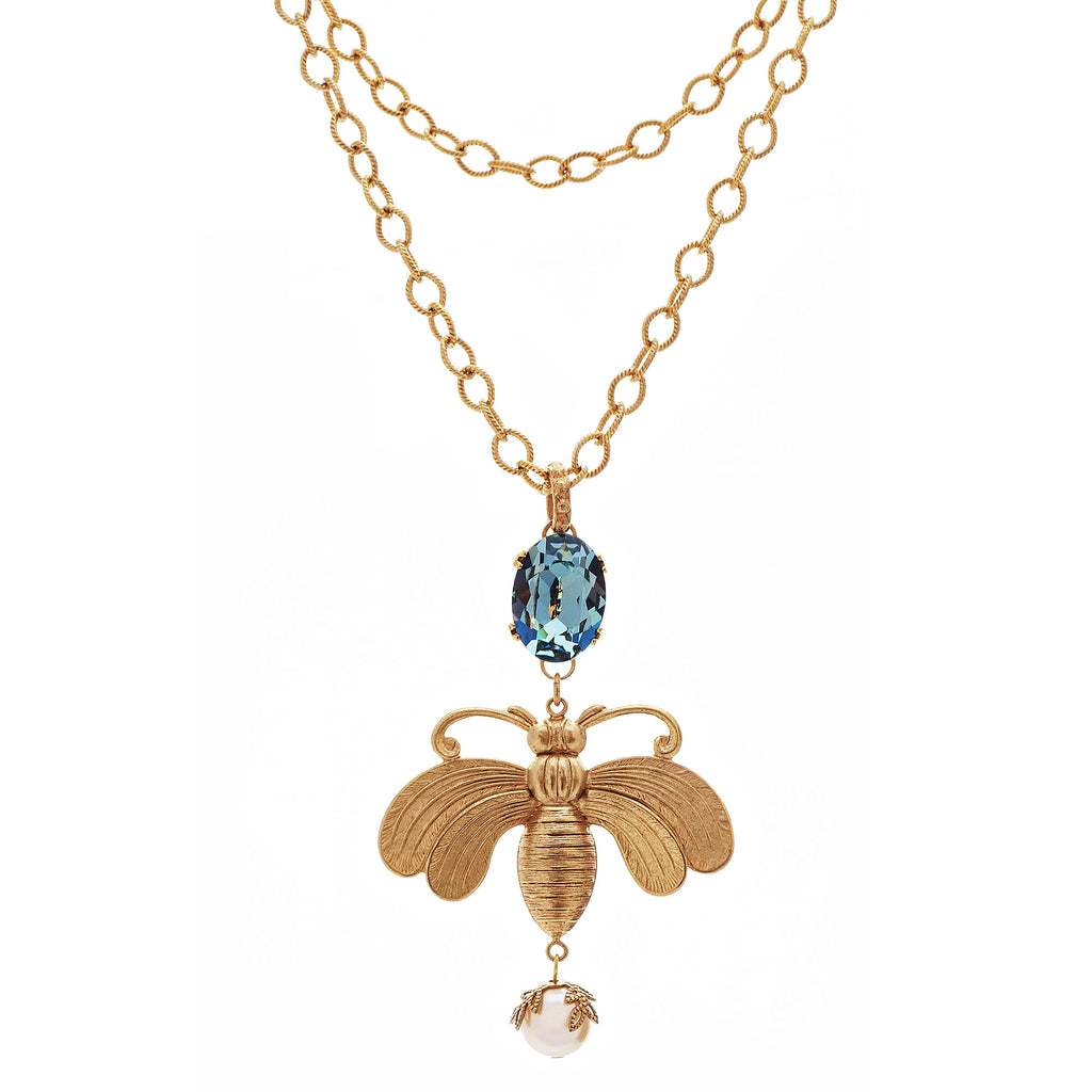14k gold plated necklace with bee medallion