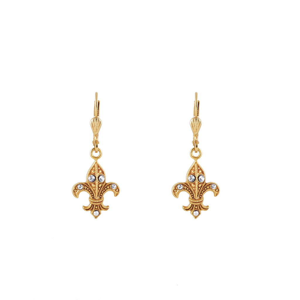 14k gold plated Fleur du Lys earrings