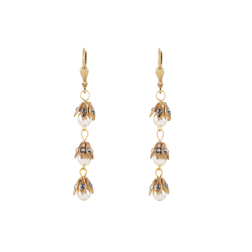 14k gold plated triple pearl drop earrings capped with filigree