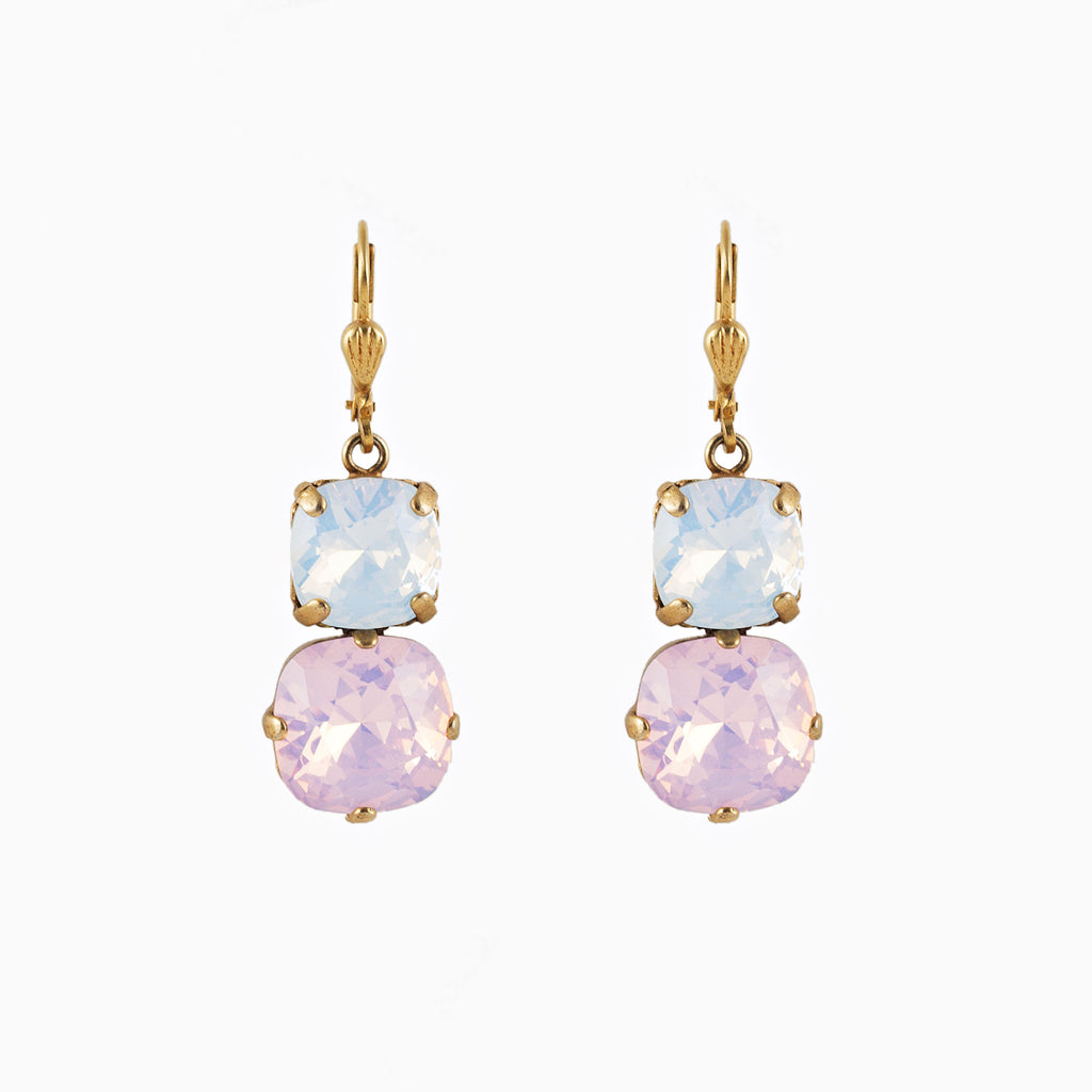 14k gold plated drop earrings set with square and round Swarovski crystals