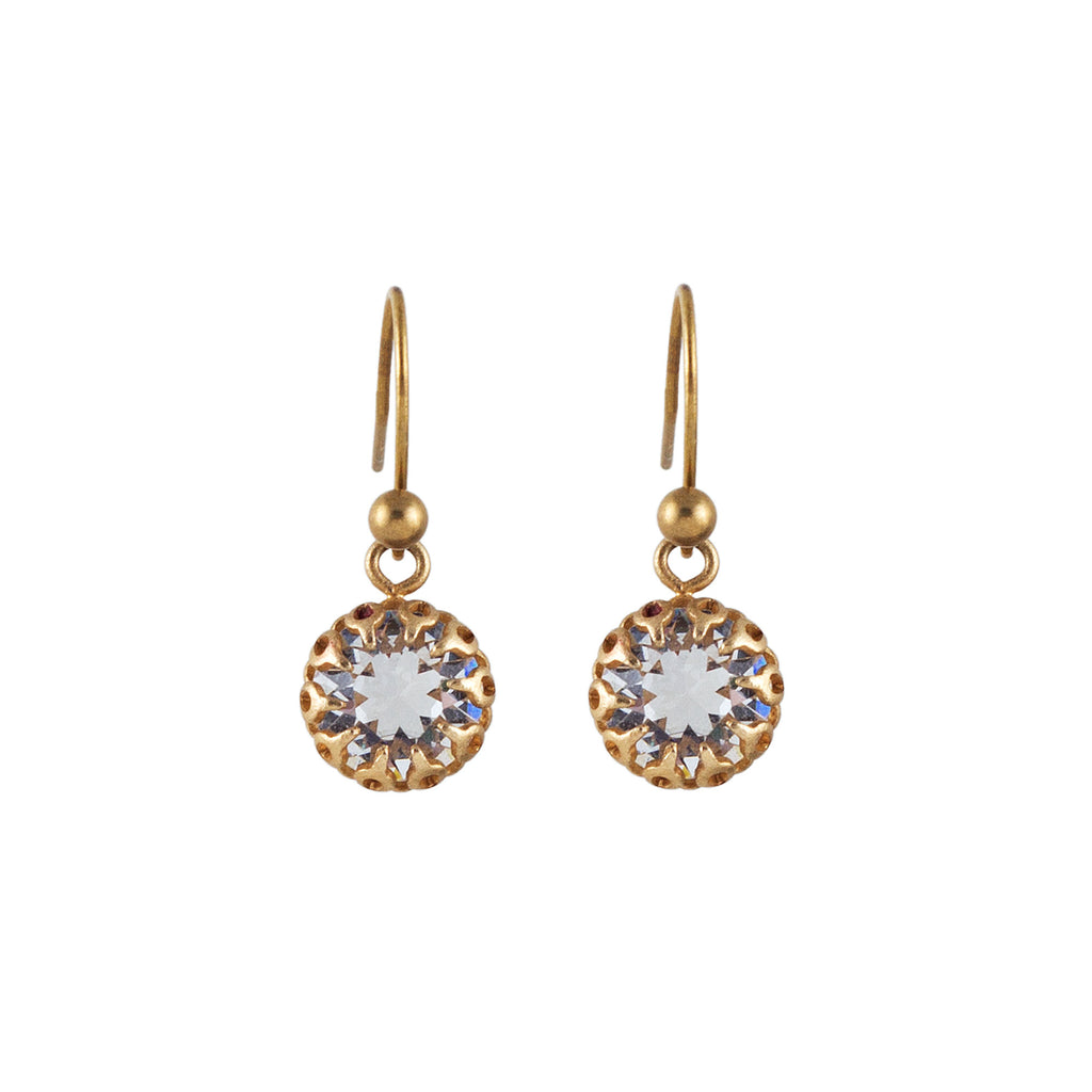 14k gold plated triple drop earrings with Swarovski crystals in Crystal