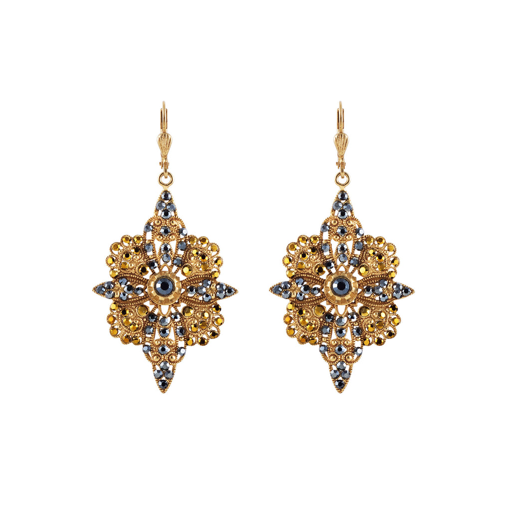 14k gold plated Crystal Flowered Earrings set with Swarovski crystals in Black Diamond