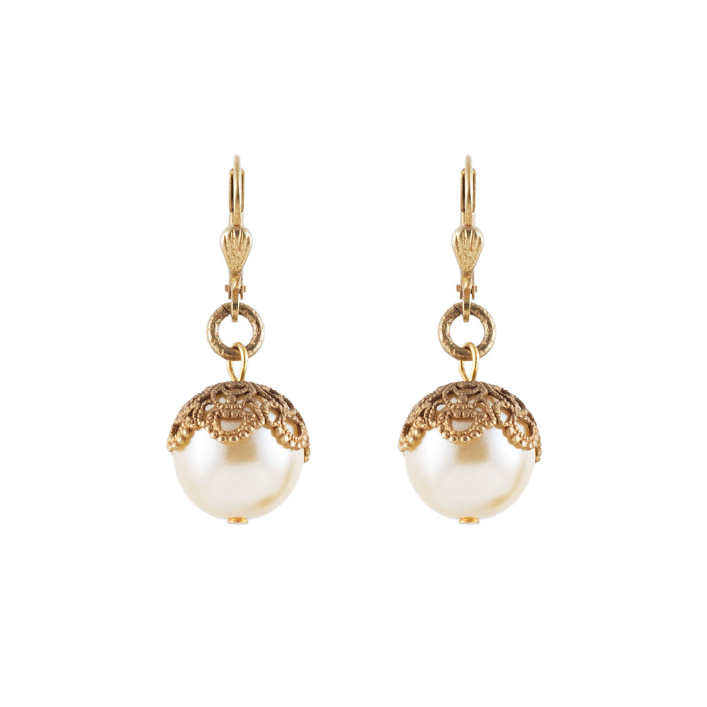 14k gold plated filigree earrings with Swarovski pearls