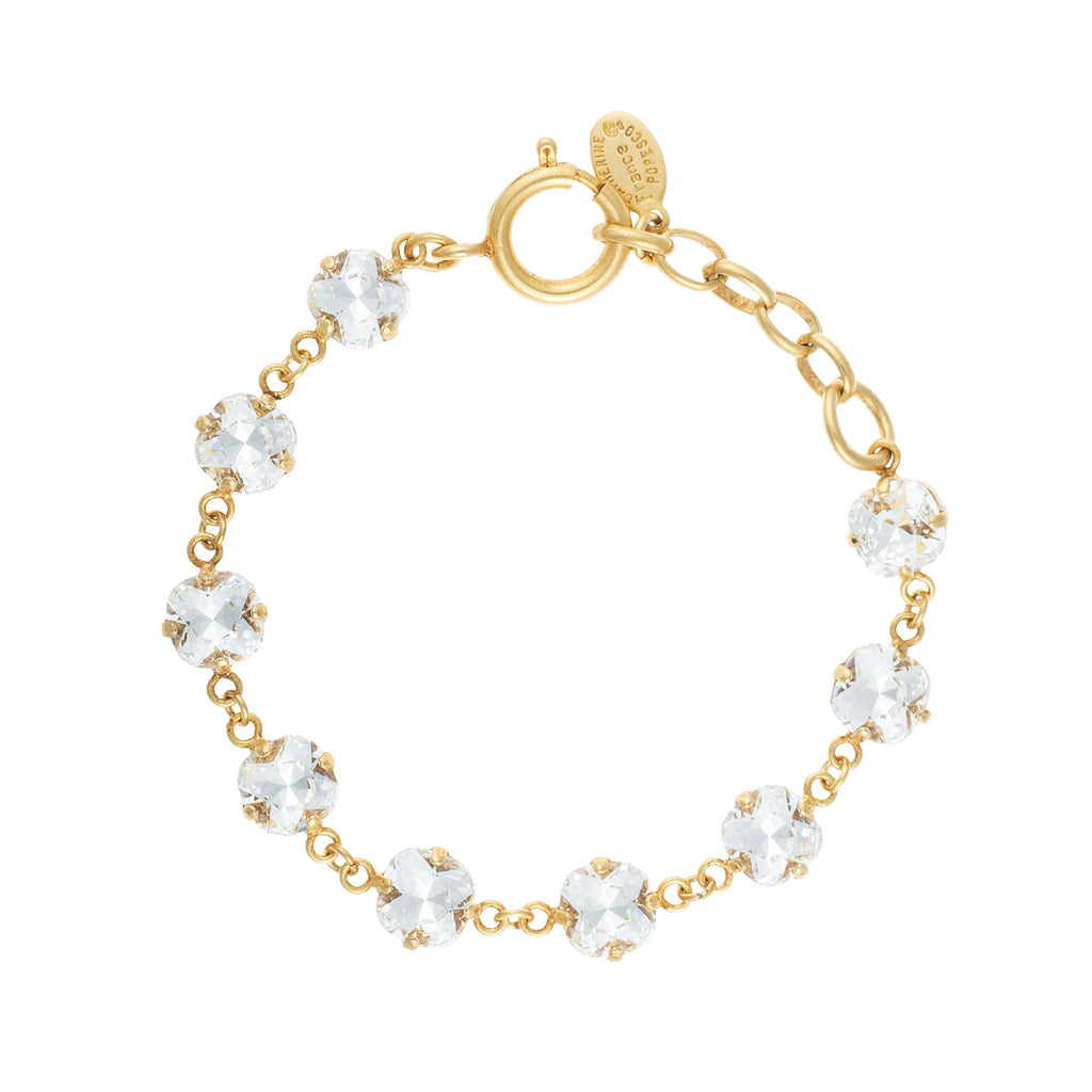14k gold plated petite bracelet set with 9 Swarovski crystals in Champagne