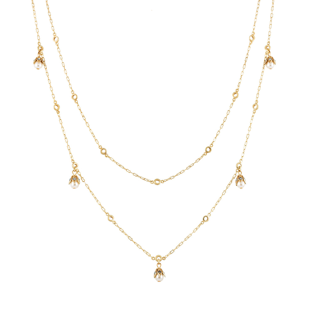 14k gold filigree single or double necklace with Swarovski pearls