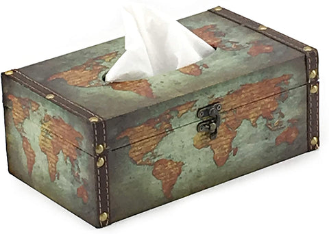 Bellaa 21598 Rectangle Tissue Box Holder Cover Paper Napking Dispenser Antique Retro Old World Map (Old World Map Green)