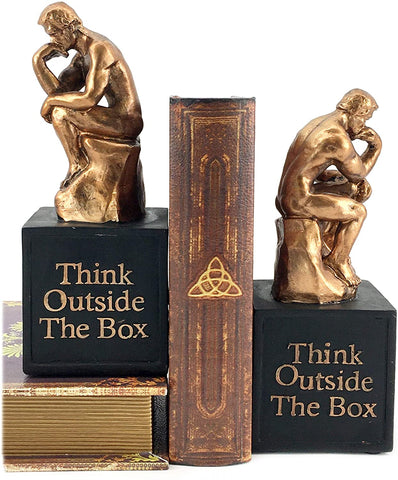 Bellaa 24674 Rodin's Thinker Bookends Set of 2 Think Outside The Box Bronze Set Innovative Idea Library Book Shelves Decor