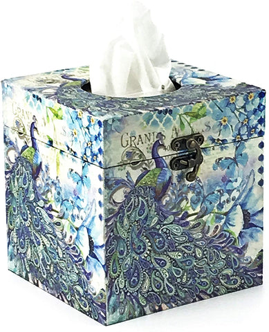 Bellaa 28304 Peacock Tissue Holder Paisley Decorative Vintage Design Square Hinged Refillable Box Cover