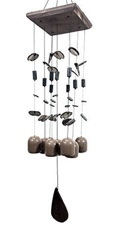 "Handcrafted Clay Ceramic Bell Wind Chime Amazing Grace Chime 27"" Inches"