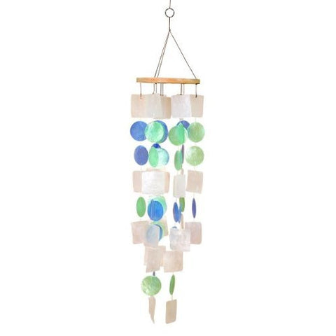 "Beautiful Wind Chime White Blue Green 20""h, 5""w Capiz Shell"