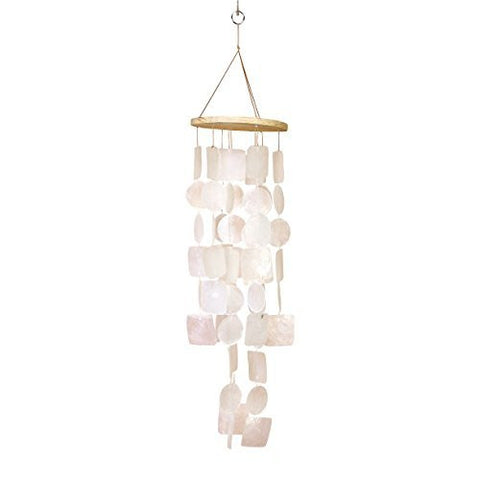 "Amazing Grace Beautiful Wind Chime White 20""h, 5.5""w Capiz Shell"