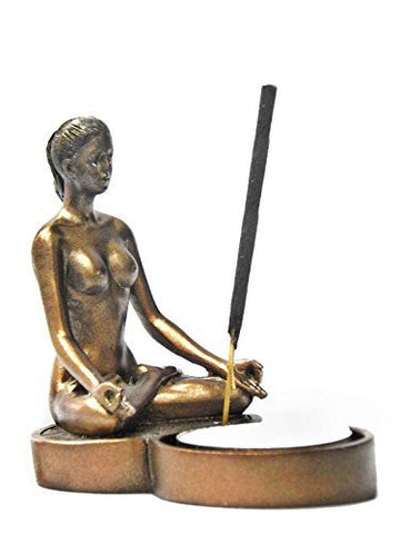 Yoga Girl Incense Burner and Votive T-light Candle Holder Meditation Figurine