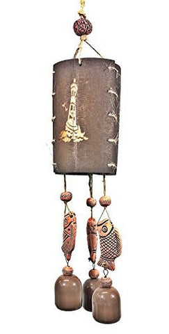 Nautical Windbell Antique Wood Clay Ceramic Bell Wind Chime 20""