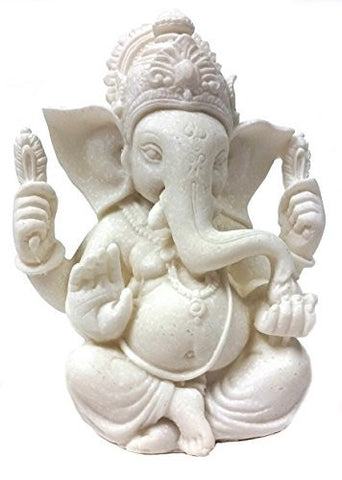 #1 the Blessing Statue of Lord Ganesh Ganpati Elephant Hindu God Made From Marble Powder in India