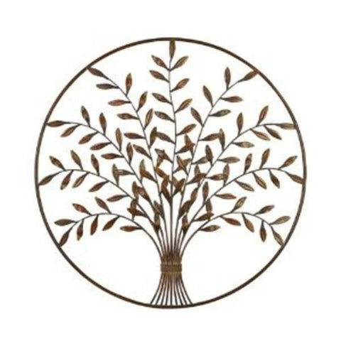 Tree of Life Circle Framed Metal Abstract Wall Art