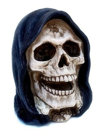Realistic Replica Human Skull Statue with Black Hood Sculpture Figure Skeleton Limited