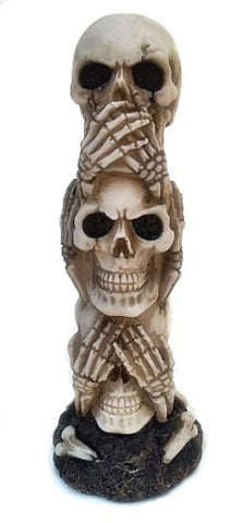The Hear-no, See-no, Speak-no Evil Skull Statue Sculpture Figure Skeleton Limited