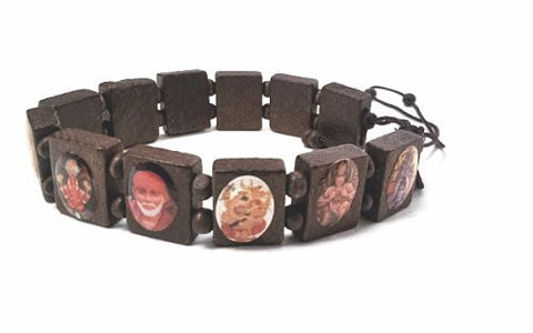 #1 Hindu Gods and Goddess Amulet Bracelet From India Yoga Wooden Beads Rama Krishna Ganesha Durga Saraswati