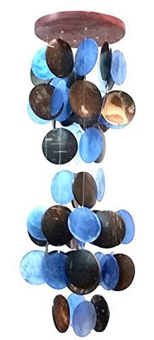 "Beautiful Wind Chime 19""h, 5.5""w Blue Capiz and Coco Shell"