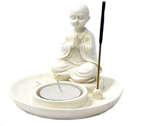 Baby Buddha Incense Burner and Votive T-light Candle Holder Meditation Figurine