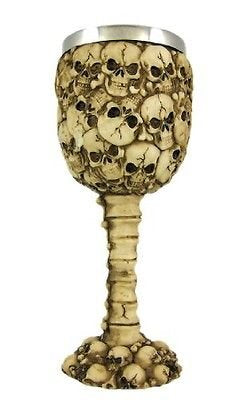 Bellaa 29936 Ossuary Style Skeleton Goblet Wine Chalice Resin Body Stainless Steel Wholesale Liquidation 24 Pcs. Case