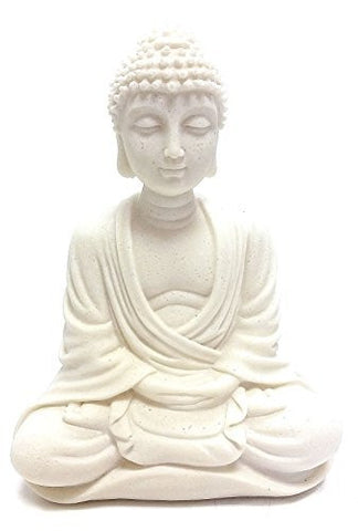 White Stone Finished Blessing Buddha Meditating Peace Harmony Statue - Collectors Items