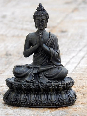 "Beautiful Blessing Buddha Black Finished 4.5"" Namaste"