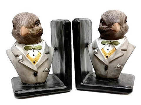 Bellaa Decorative Bookends English Officer Birds Book Ends Limited