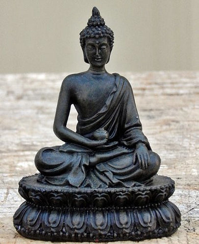 "Beautiful Blessing Buddha Black Finished 4.5"" Medicine"