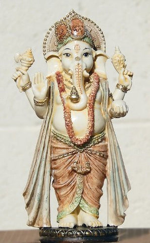 Rare Lord Ganesh Ganesha Beautiful Statues Hindu Good Luck God Standing Sculptures 11""
