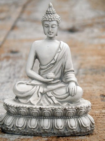 "Beautiful Blessing Buddha White Marble Finished 4.5"" Medicine"