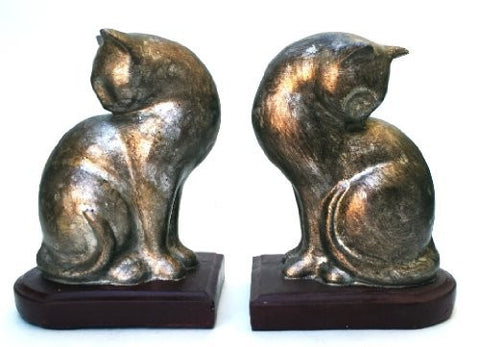 "Bellaa 21695 Cat Bookends Pair Home Decoration Book Ends 8"" Tall  Liquidation 12 Pcs. Case"