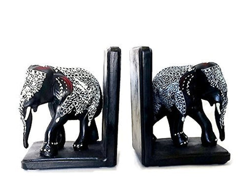 Bellaa Bookends Decorative Black Elephants Big Size