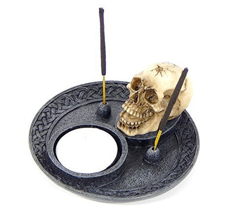 Skull Incense Burner and Votive T-light Candle Holder Meditation Figurine