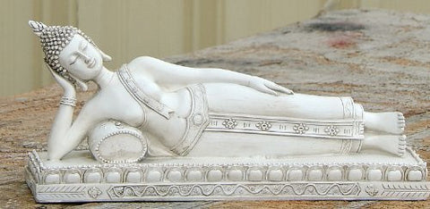 "Rare Find Beautiful Sleeping Buddha - Collector's Choice 12"" White Marble Finished"