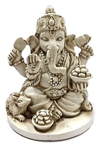 Rare Lord Ganesh Ganesha Beautiful Statues Hindu Good Luck God - White Statues 2.5""