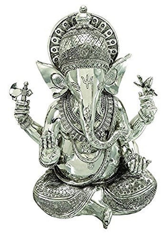 Bellaa Big Lord Ganesha Beautiful Silver Statues Hindu Altar Puja Aarti