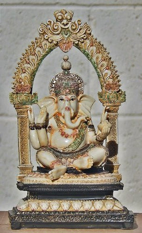 Rare Lord Ganesh Ganesha Beautiful Statues Hindu Good Luck God Arched Sculptu...