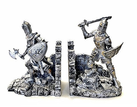 Bellaa Decorative Bookends Arthurian Knight Book End in Two-tone Metallic